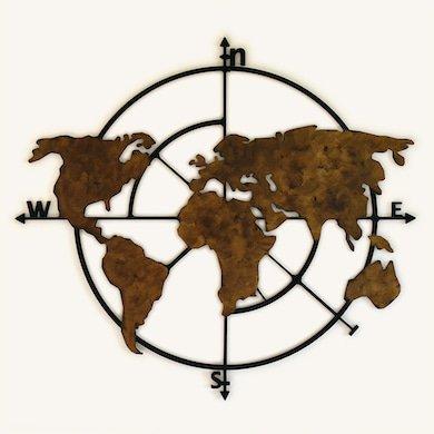 unykdesign houten wereldkaart windrichting zwart brons